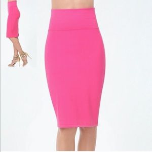 Bebe Fuchsia-Pink Bodycon High Waist Midi Skirt